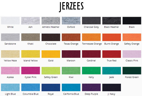 Jerzees T-shirt Colors - Shirts Plus Derby