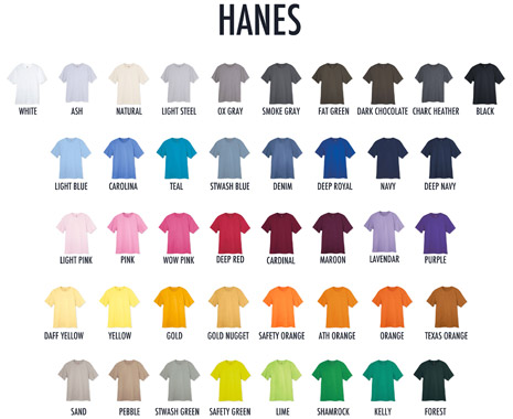Hanes T-Shirt Colors - Shirts Plus Derby