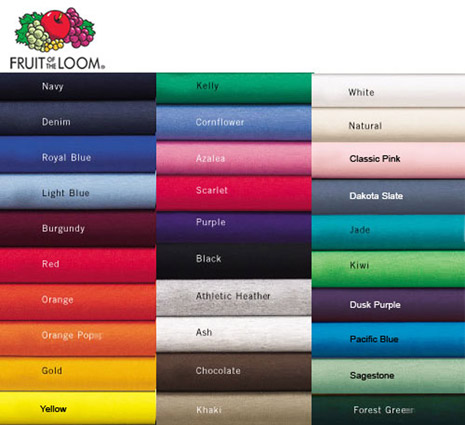 Fruit of the Loom T-shirt Colors - Shirts Plus Derby