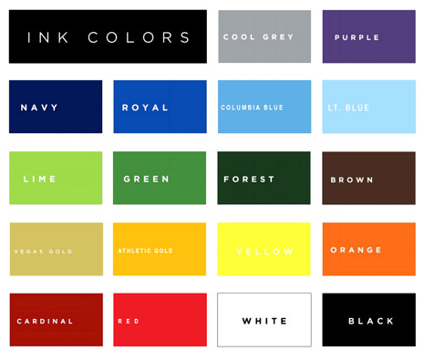T-shirt Ink Colors - Shirts Plus Derby